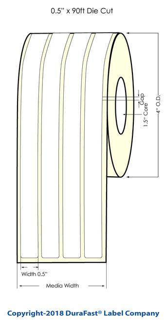 "TM-C3500 0.5"" x 90ft Inkjet (4 UP) Chemical Label Roll"