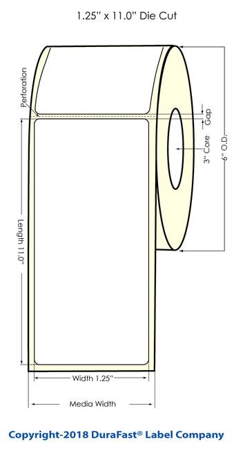 "TM-C3500 1.25"" x 11"" Inkjet Wristband Tags 4 Rolls/Carton"
