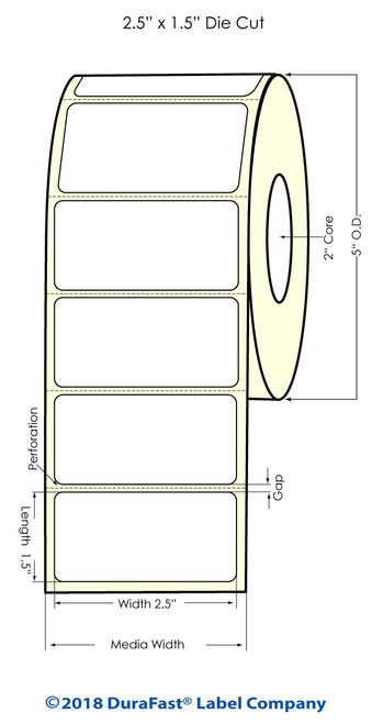"LX500 2.5"" x 1.5"" Inkjet Clear Polypropylene Label 1,000/Roll"
