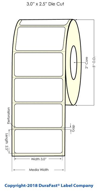 "LX500 3"" x 2.5"" Inkjet Gold Polyester Label 700/Roll"