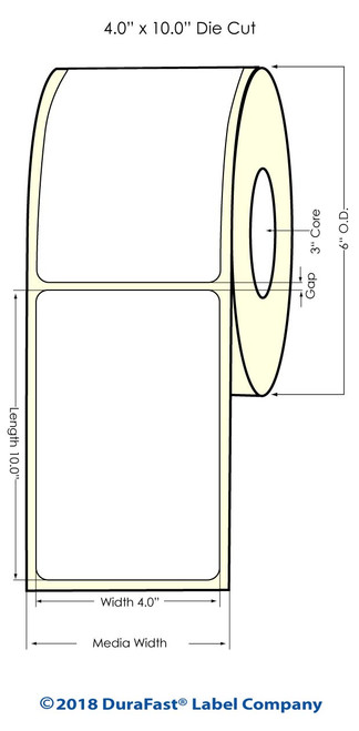 "TM-C7500G 4"" x 10"" Inkjet NP High Gloss Paper Labels 250/Roll"