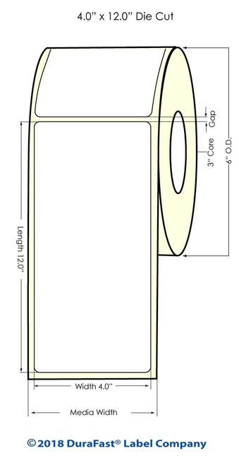 "TM-C7500G 4"" x 12"" Inkjet NP High Gloss Paper Labels 215/Roll"