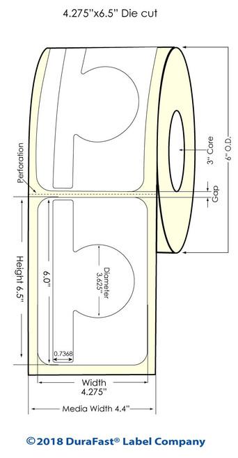 """TM-C7500G 3.9778"""" x 6"""" Inkjet High Gloss Paper Labels 400/Roll"""