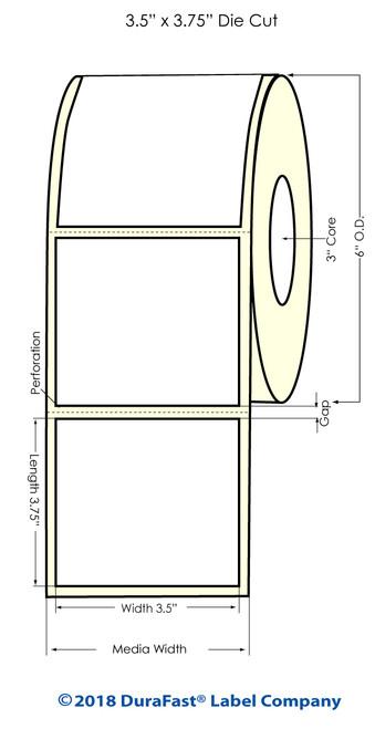 "L801 3.5"" x 3.75"" Inkjet Square corners High Gloss Paper Labels 680/Roll"