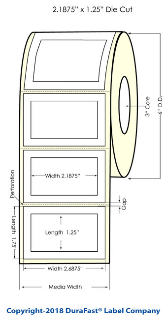 "LX900 2.1875"" x 1.25"" Inkjet Matte Paper Label 1400/Roll"