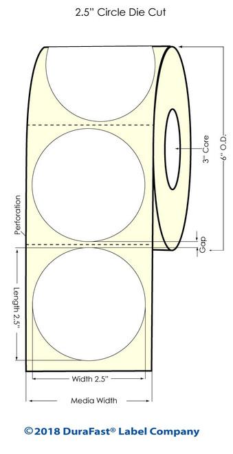 "LX900 2.5"" Circle Inkjet Matte BOPP Labels 900/Roll"
