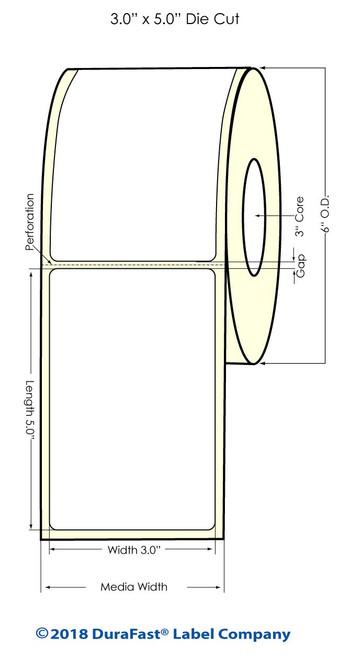 """LX900 3"""" x 5"""" Inkjet Matte BOPP Labels 450/Roll"""