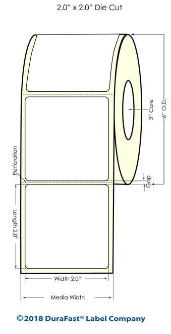 """LX900 2"""" x 2"""" Inkjet Matte BOPP Labels 1100/Roll"""