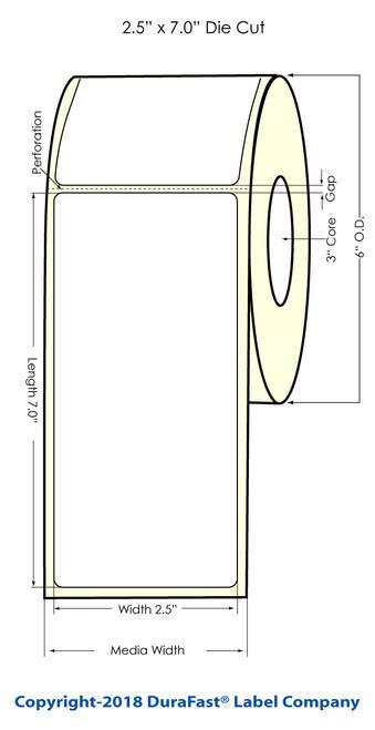 """LX900 2.5"""" x 7"""" Inkjet Matte BOPP Labels 300/Roll"""