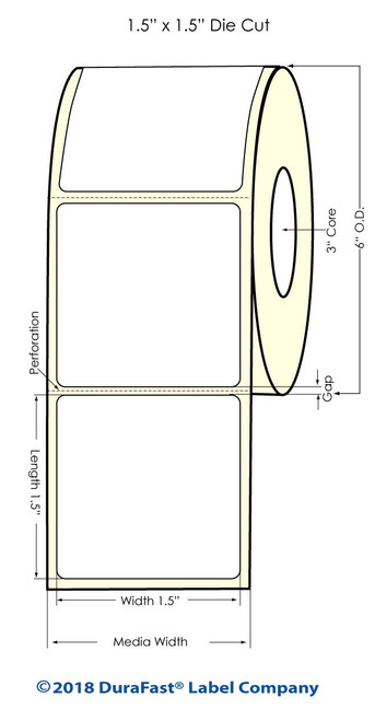 """LX900 1.5"""" x 1.5"""" Inkjet Matte BOPP Labels 1400/Roll"""