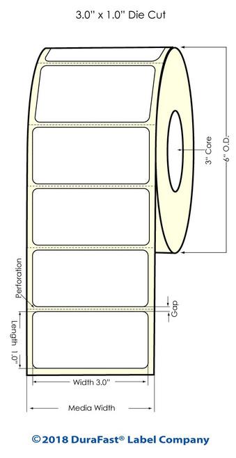 """LX900 3"""" x 1"""" Inkjet Matte BOPP Labels 2100/Roll"""