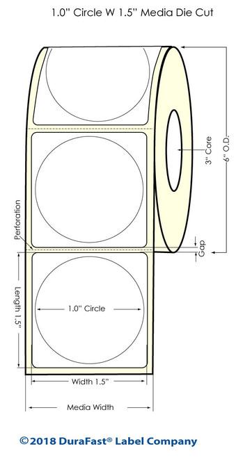 "LX900 1"" Circle (1A) Inkjet Matte BOPP Labels 1775/Roll"