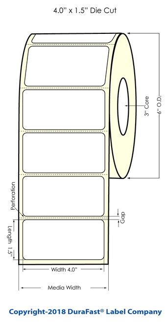 """LX900 4"""" x 1.5"""" Inkjet Matte BOPP Labels 1225/Roll"""