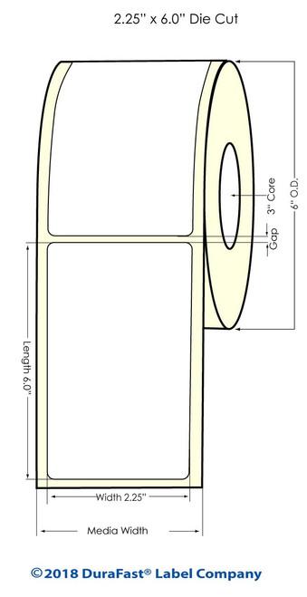 """L801 2.25"""" x 6"""" Inkjet Matte BOPP Labels 400/Roll"""