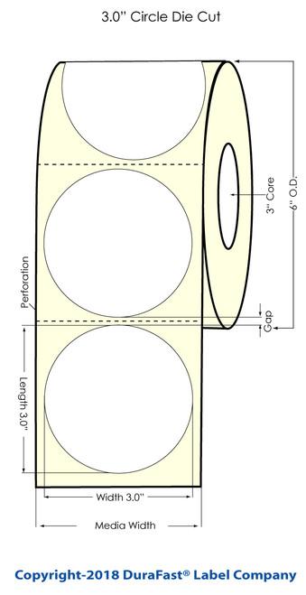 "LX900 3"" Circle Inkjet Glossy BOPP Labels 750/Roll"