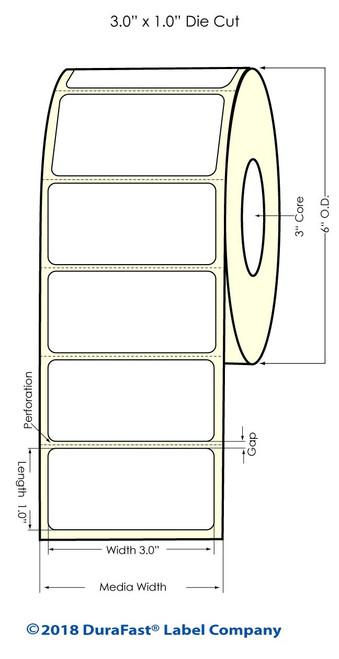 "LX900 3"" x 1"" Inkjet Glossy BOPP Labels 2100/Roll"