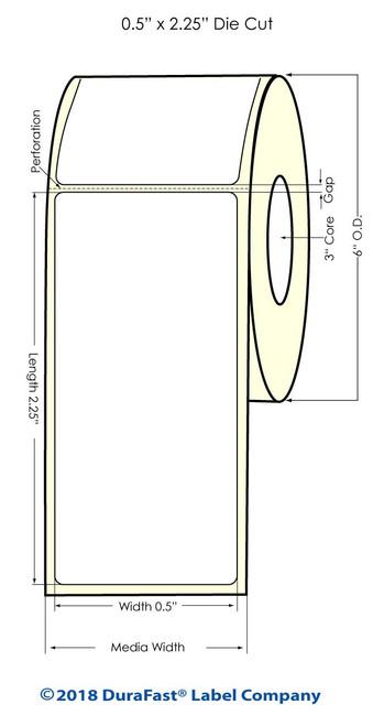 "LX900 0.5"" x 2.25"" Inkjet NP Glossy BOPP Labels 1000/Roll"