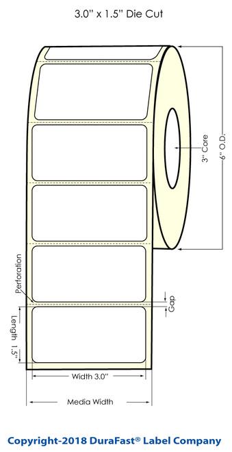 "LX900 3"" x 1.5"" Inkjet Glossy BOPP Labels 1500/Roll"