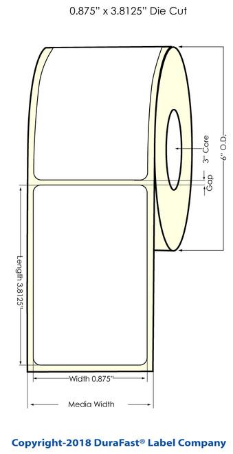 """LX900 0.875"""" x 2.625"""" Inkjet NP Glossy BOPP (Es Oil) Labels 1000/Roll"""