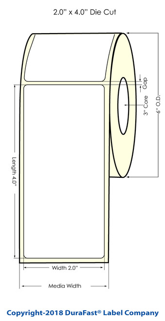 "LX900 2"" x 4"" Inkjet NP Glossy BOPP Labels 620/Roll"