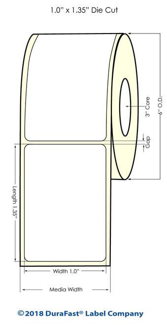 "LX900 1"" x 1.35"" Inkjet NP Glossy BOPP Labels 1700/Roll"