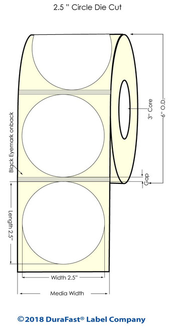 "LX900 2.5"" Circle Glossy Inkjet BOPP Labels 900/Roll"