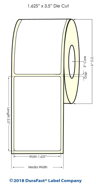"LX900 1.625"" x 3.5"" Inkjet NP 0.25"" gap Glossy BOPP Labels 700/Roll"