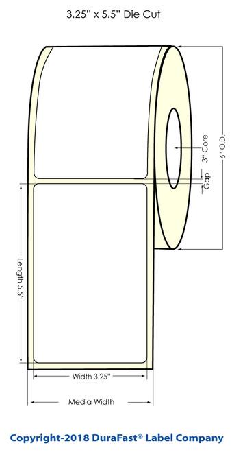 """TM-C7500G 3.25"""" x 5.5"""" Inkjet NP Glossy BOPP Labels 450/Roll"""