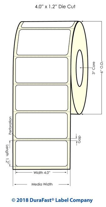 "L301 4"" x 1.2"" Inkjet Glossy BOPP Labels 1800/Roll"