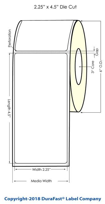 "LX900 2.25"" x 4.5"" Inkjet Glossy BOPP Labels 550/Roll"