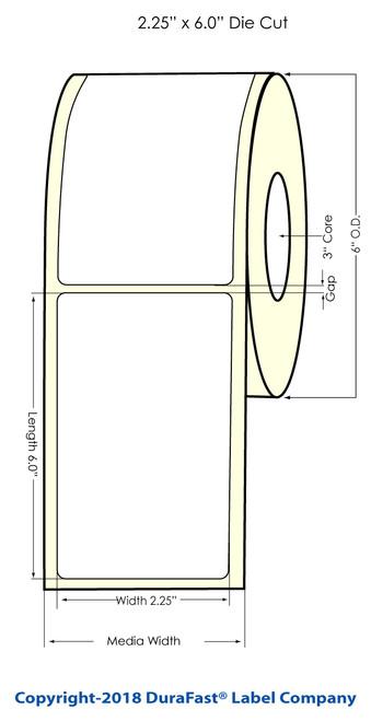 """TM-C7500G 2.25"""" x 6"""" Inkjet NP Glossy BOPP Labels 400/Roll"""