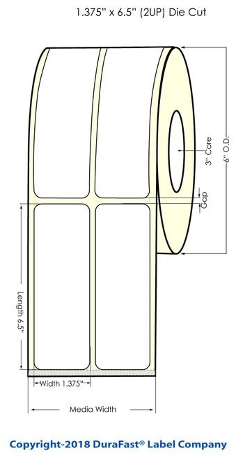"L801 1.375"" x 6.75"" Inkjet NP Glossy BOPP Labels 750/Roll"