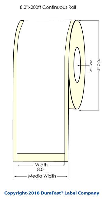 "LX900 8"" x 200ft Inkjet White Polyester Label Roll"