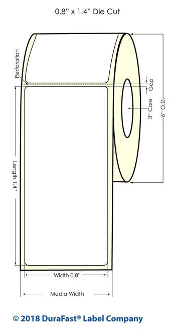 "LX900 0.8"" x 1.4"" Inkjet NP White Polyester Label 1600/Roll"