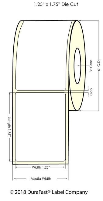 """LX900 1.25"""" x 1.75"""" Inkjet NP Clear BOPP Label 1400/Roll"""