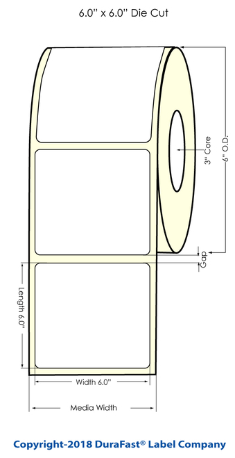 """L801 6"""" x 6"""" Inkjet Clear BOPP Label 475/Roll"""