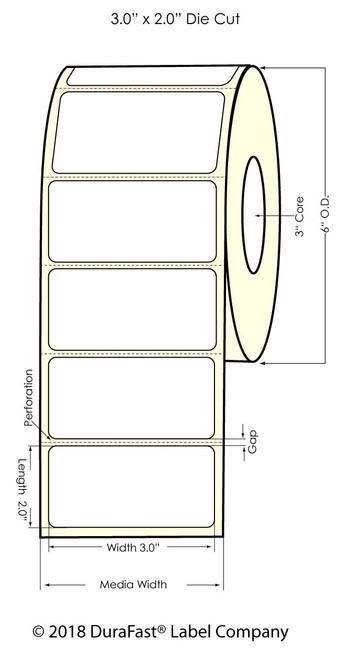 "LX900 3"" x 2"" Inkjet Silver Polyester Label 1200/Roll"