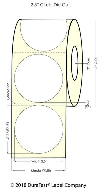 "LX900 2.5"" Circle Silver Inkjet Polyester Label 900/Roll"