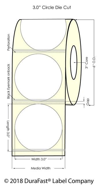 "TM-C7500G 3"" Circle Inkjet SilverPolyester Label 800/Roll"