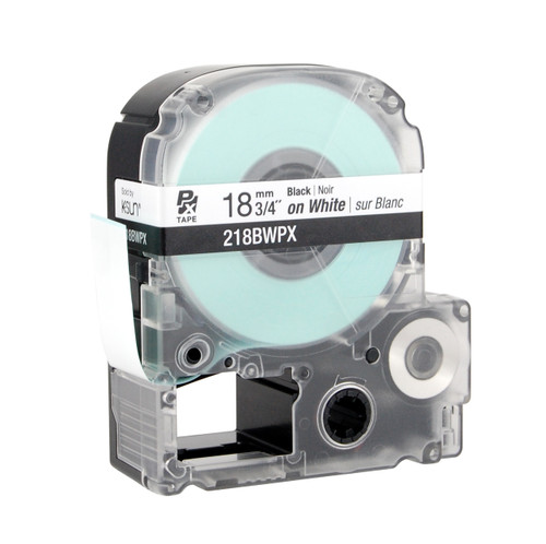 """Epson 218BWPX 3/4"""" White Glossy Polyester Label PX Tape"""