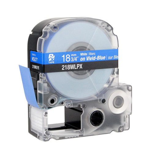 """Epson 218WLPX 3/4"""" Blue Glossy Polyester Label PX Tape"""