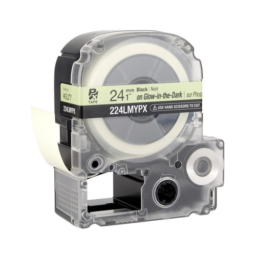 """Epson 224LMYPX 1"""" Green Glossy Glow-in-the-Dark Label PX Tape"""