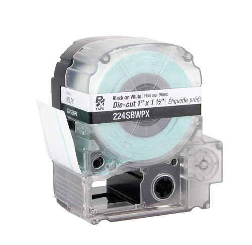 """Epson 224SBWPX 1 1/2"""" x 1"""" White Glossy Polyester Die-Cut Label PX Tape"""