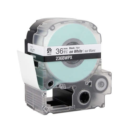 """Epson 236BWPX 1 1/2"""" White Glossy Polyester Label PX Tape"""