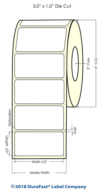 "LX900 3"" x 2"" Inkjet Glossy BOPP Labels 1100/Roll"