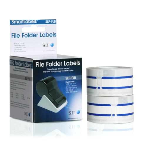 Seiko SLP620/650 0.5625 x 3.4375 White File Folder Inkjet Labels SLP-FLB