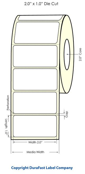 "LX500 2"" x 1"" Inkjet High Gloss Labels 1700/Roll  - 74704"