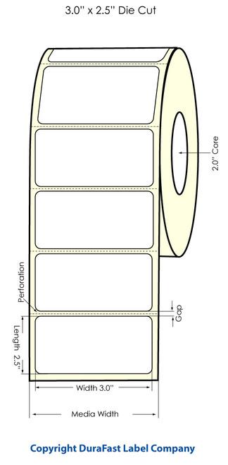 "LX500 3"" x 2.5"" Inkjet High Gloss Labels 700/Roll  - 74708"