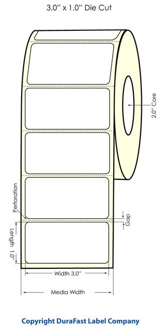 "LX500 3"" x 1"" Inkjet High Gloss Labels 1700/Roll  - 74724"