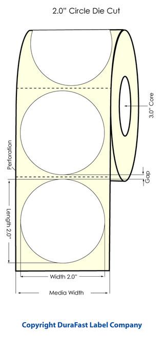 "LX900 2"" Inkjet Circle High Gloss Paper Labels 1100/Roll  - 74855"